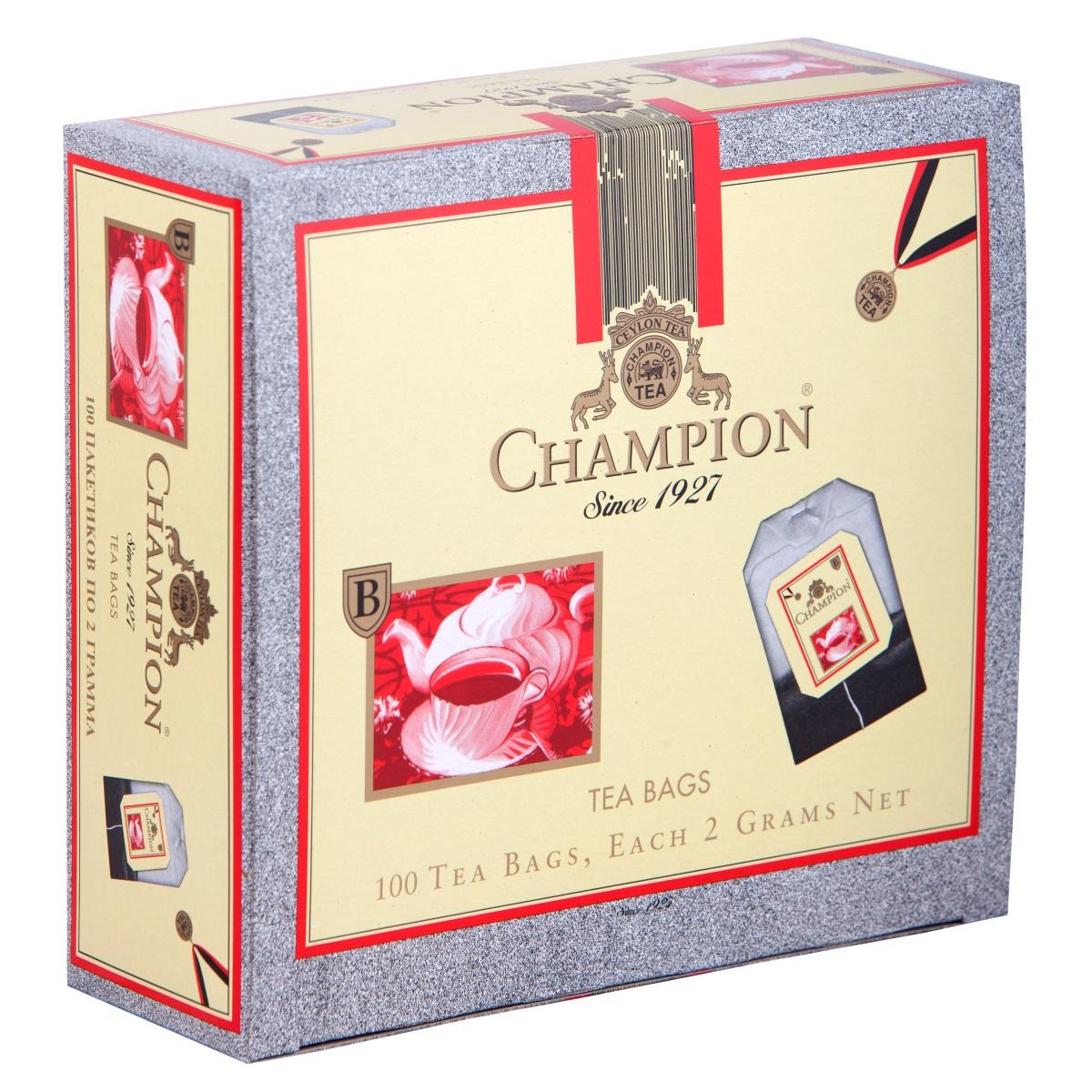 Champion черный листовой чай в пакетиках, 100 шт champion черный листовой чай в пакетиках 25 шт