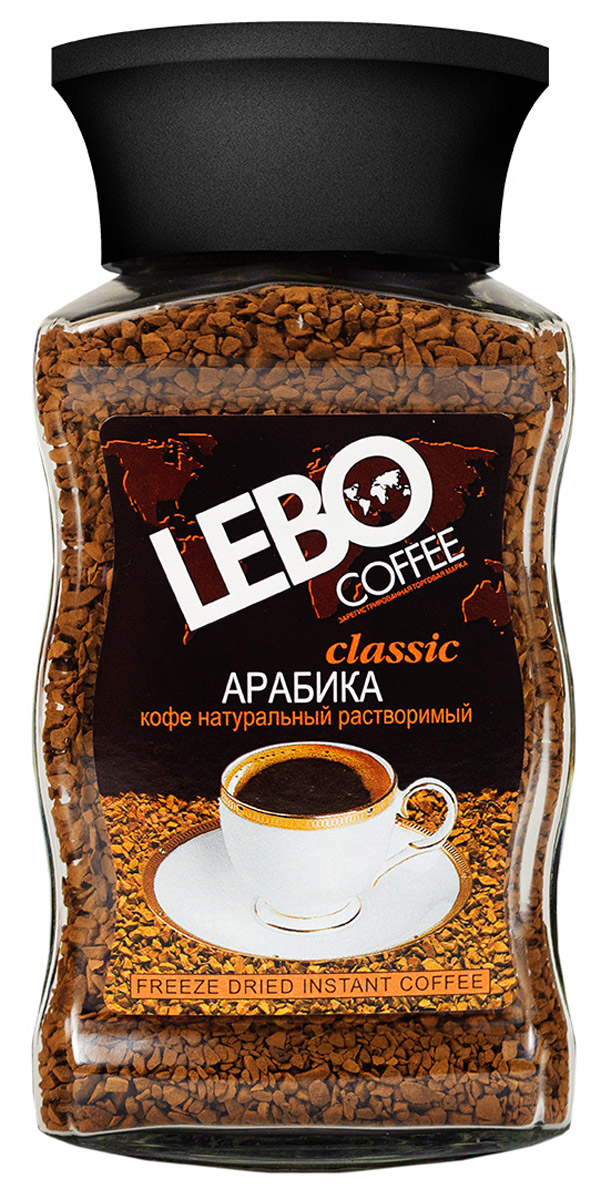 Lebo Сlassic кофе растворимый, 100 г lebo extra кофе растворимый порционный 25 шт х 2 г