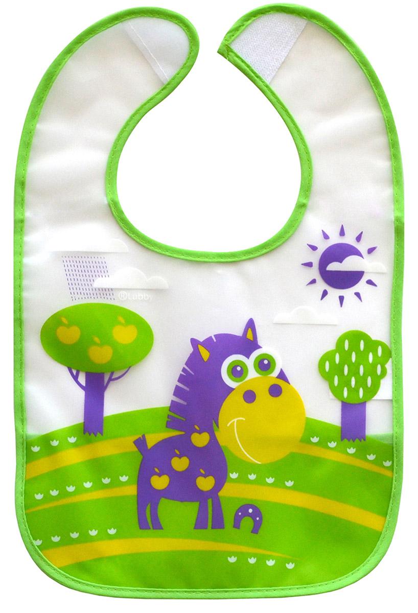 Lubby Нагрудник на липучке В мире животных цвет зеленый фиолетовый крошка я нагрудник на липучке улитка