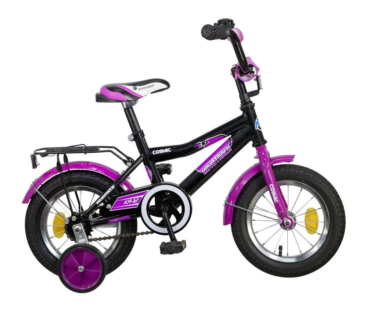 Велосипед детский Novatrack Cosmic, цвет: черный, сиреневый, 12 велосипед для организма