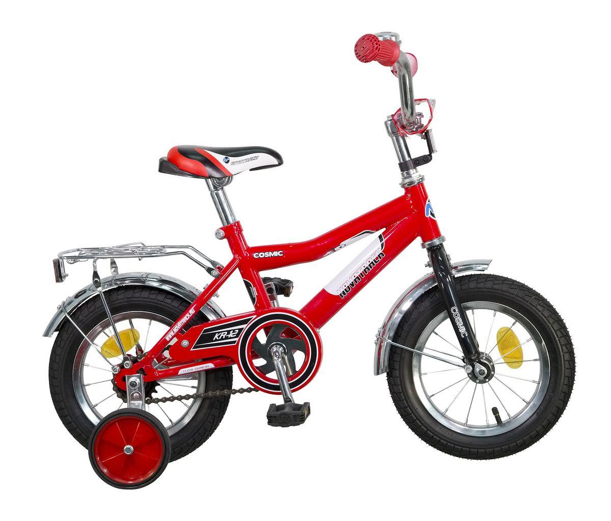 Велосипед детский Novatrack Cosmic, цвет: красный, белый, черный, 12 велосипед для организма