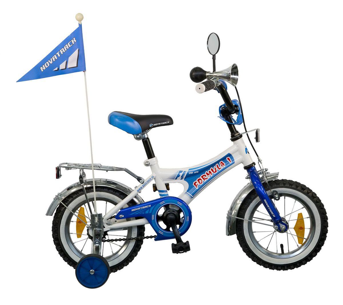 Велосипед детский Novatrack Formula, цвет: синий, белый, 12