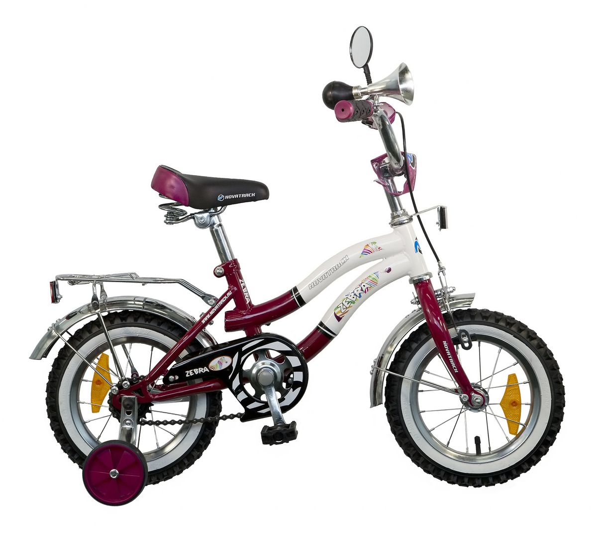 Велосипед детский Novatrack Zebra, цвет: бордовый, белый, 12 велосипед novatrack 16 зебра бордово белый 165 zebra clr6
