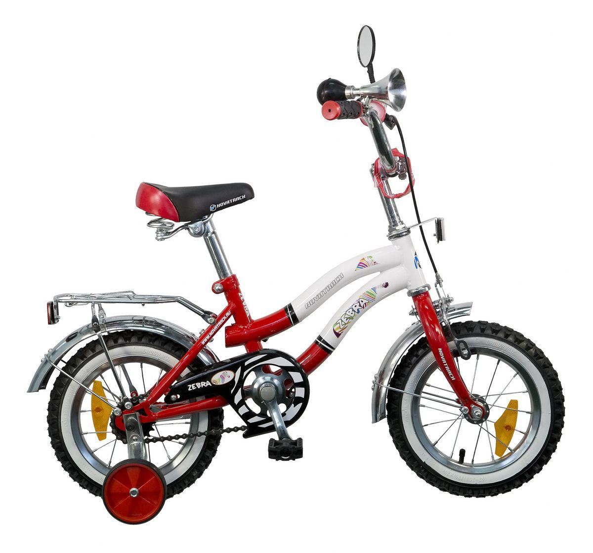 Велосипед детский Novatrack Zebra, цвет: красный, белый, 12 велосипед novatrack 16 зебра бордово белый 165 zebra clr6