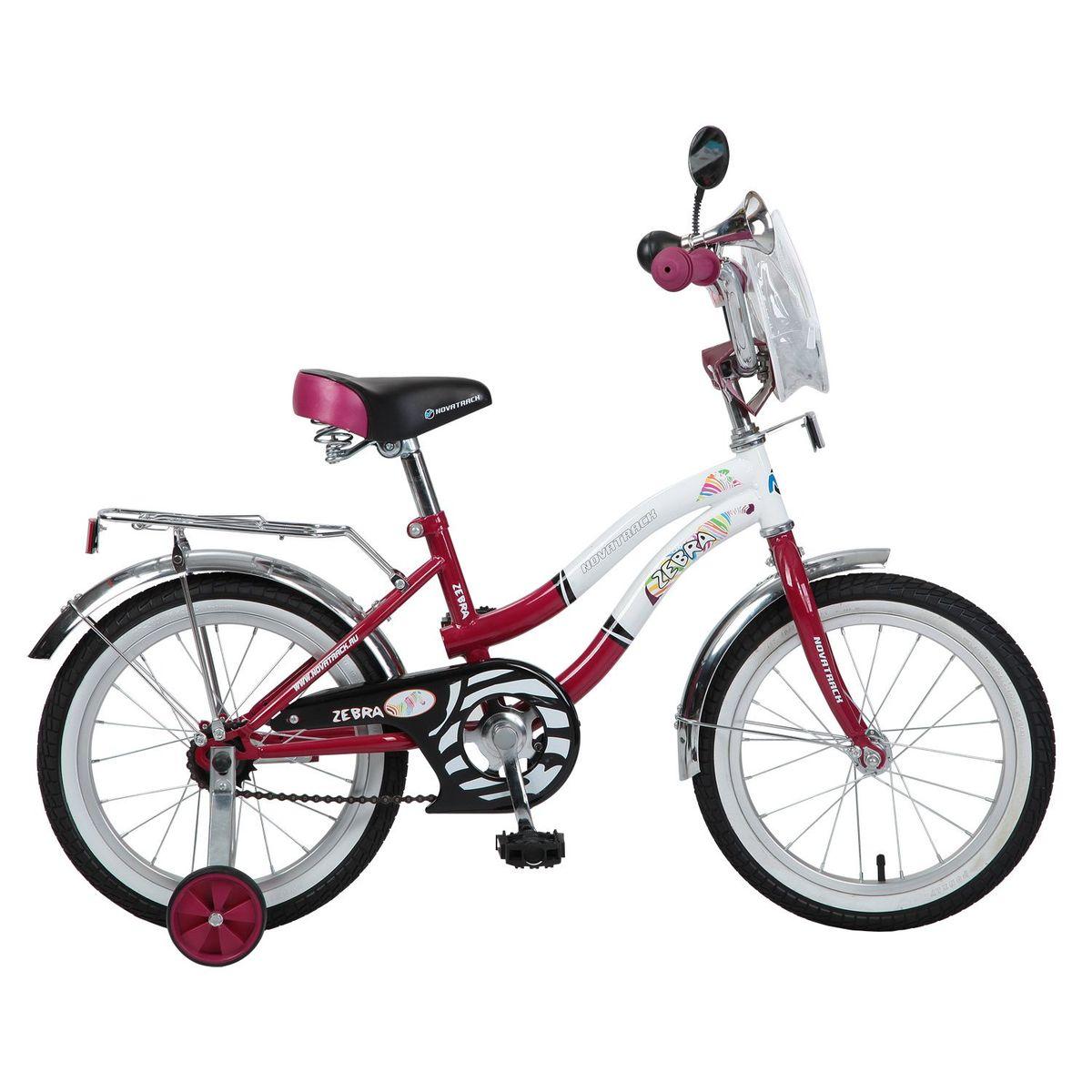 Велосипед детский Novatrack Zebra, цвет: бордовый, белый, 16 велосипед детский novatrack zebra цвет бордовый белый 12