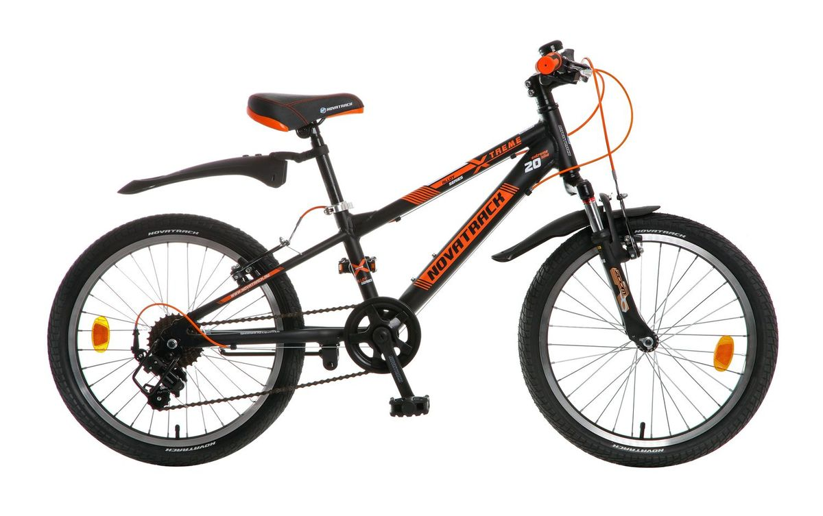 Велосипед детский Novatrack Extreme, цвет: черный, оранжевый, 20 велосипед детский novatrack fs 30 цвет бордовый 20