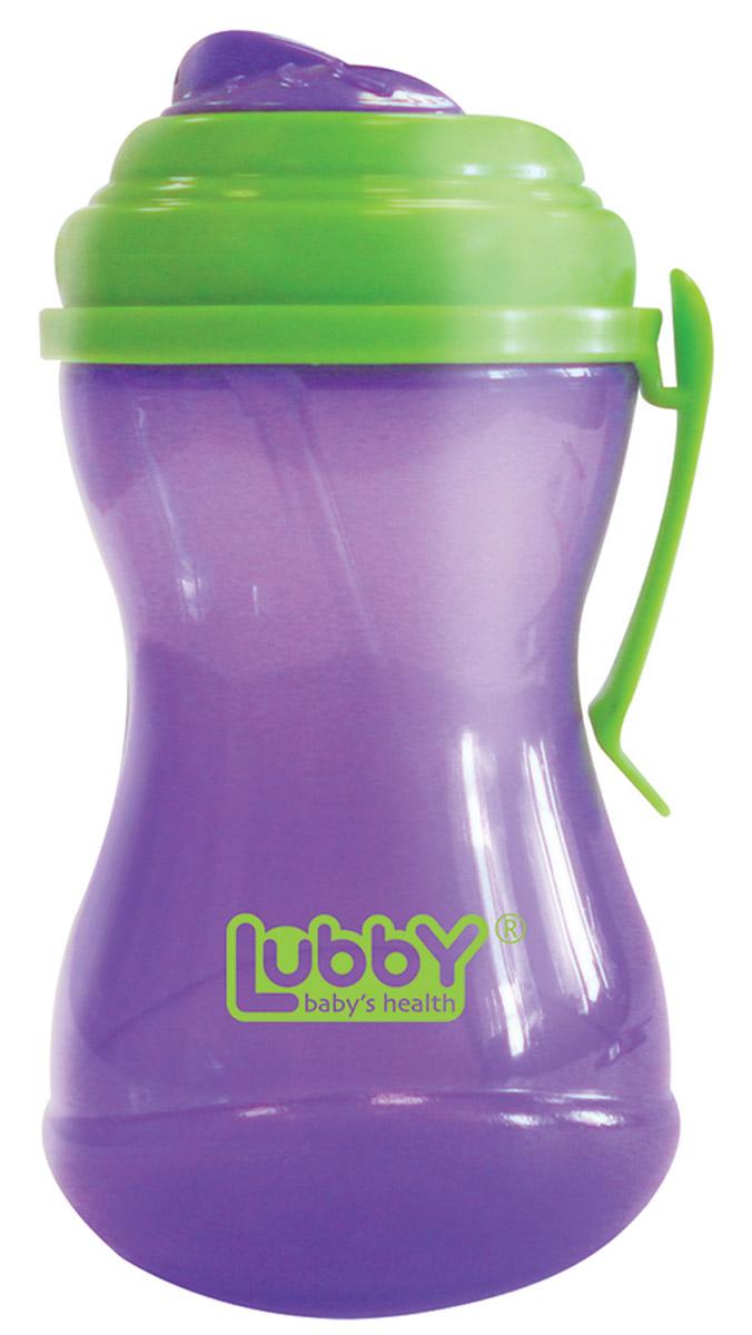 Lubby Поильник-непроливайка Twist с трубочкой от 6 месяцев цвет фиолетовый салатовый 320 мл