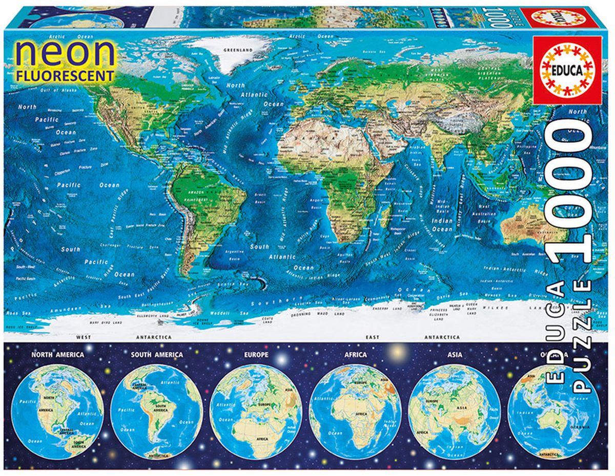 Educa Пазл неоновый Карта мира античная карта мира пазл 1000 элементов