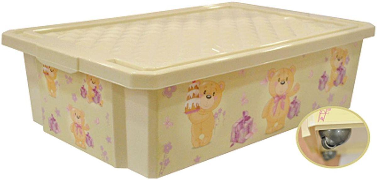 Little Angel Ящик для игрушек X-Box Bears на колесах 30 л цвет слоновая кость little angel ящик для игрушек x box сказочная принцесса 17 л