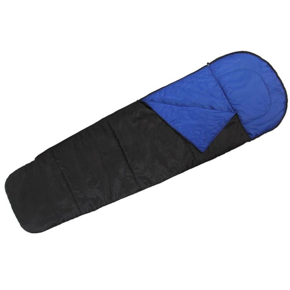 Мешок спальный Onlitop Кокон, цвет: черный, синий, правосторонняя молния мешок спальный onlitop богатырь правосторонняя молния цвет хаки 225 х 105 см