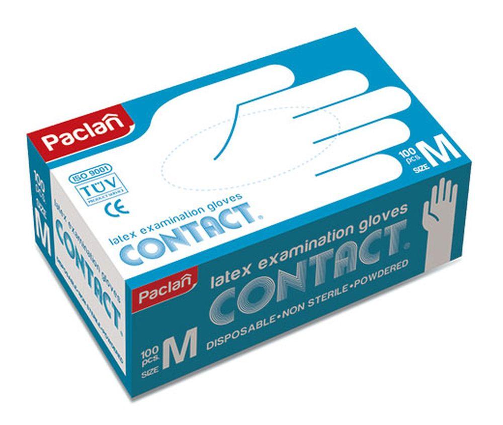Перчатки латексные Paclan, 100 шт. Размер M перчатки латексные paclan contact 100 шт размер l
