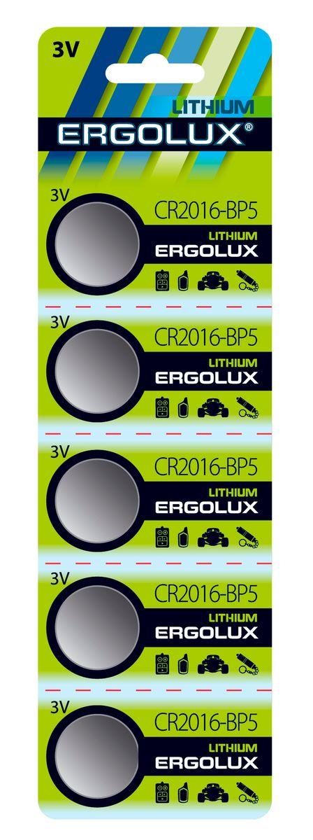Батарейка Ergolux CR2016 BL-5 батарейка ergolux 6lr61 alkaline bl 1
