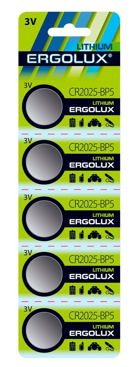 Батарейка Ergolux CR2025 BL-5 батарейка ergolux 6lr61 alkaline bl 1