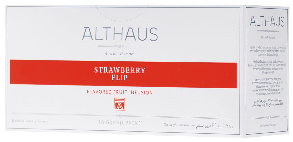 Althaus Grand Pack Strawberry Flip ягодный чай в пакетиках, 20 штTALTHB-GP0033Althaus Strawberry Flip (Строберри Флип) — ароматный темно-красный напиток с замечательным мягким вкусом спелой садовой клубники и воздушных сливок. Освежающий шиповник и душистое яблоко рождают в букете благоухание фруктового сада, а лепестки суданской розы привносят легкий цветочный оттенок. Строберри Флип можно пить не только в горячем, но и в холодном виде со льдом. Всё о чае: сорта, факты, советы по выбору и употреблению. Статья OZON Гид
