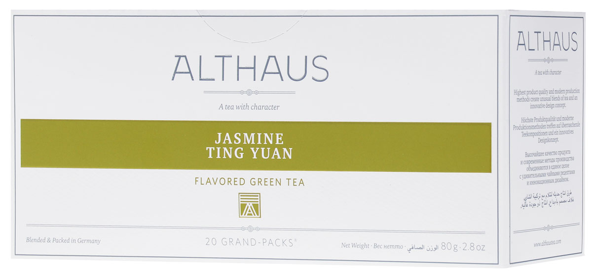 Althaus Grand Pack Jasmine Ting Yuan зеленый чай в пакетиках, 20 шт man ting