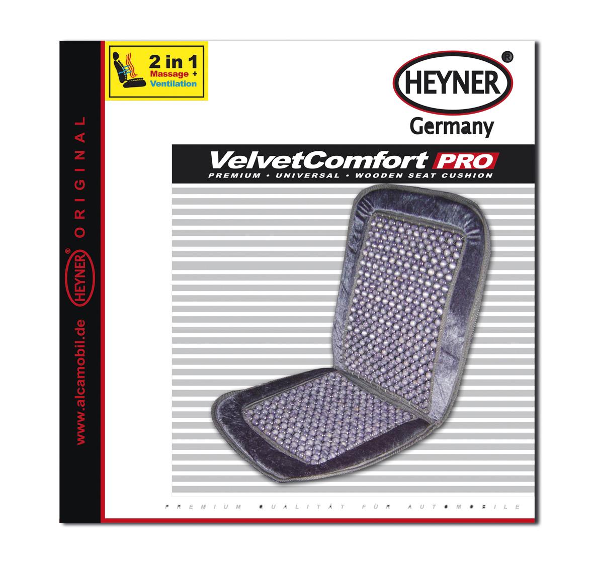 Накидка-массажер на сиденье Heyner, деревянные шарики, цвет: серый накидка на сиденье heyner с подогревом 12в 42 вт цвет черный