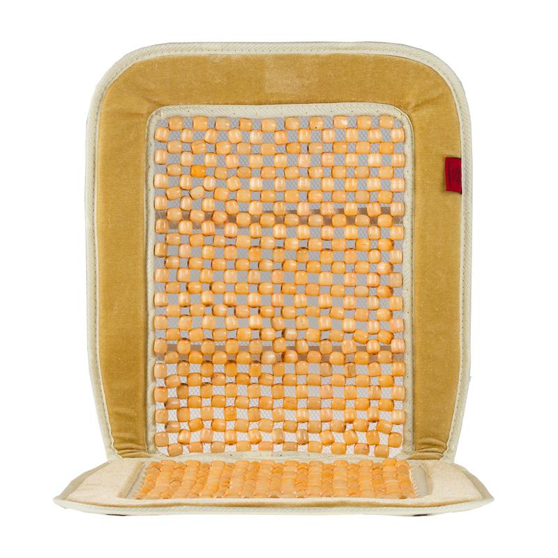 Накидка-массажер на сиденье Heyner, деревянные шарики, цвет: бежевый накидка на сиденье heyner с подогревом 12в 42 вт цвет черный