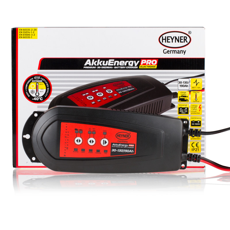 Мобильное зарядное устройство Heyner AkkuEnergy PRO, для АКБ 30-130 Ah 12V927130Мобильное зарядное устройство Heyner AkkuEnergy PRO предназначено для кислотных автомобильных аккумуляторных батарей 30-130 Ah. 7-ступенчатый процесс зарядки управляется микропроцессором. Поддерживает АКБ емкостью от 30-190 Ah в рабочем состоянии в период, когда АКБ находится на хранении. Ток зарядки импульсный. Защита от обратной полярности, короткого замыкания, перегрева и импульсных перенапряжений. Корпус изготовлен из прочного пластика (защита IP21).