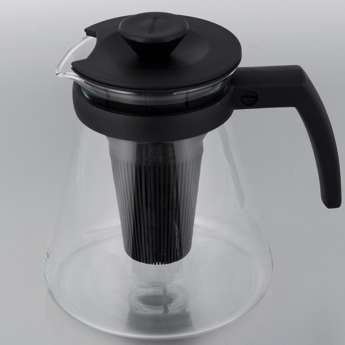 Чайник заварочный Tescoma Teo, с ситечками, цвет: прозрачный, черный, 1,25 л646622Заварочный чайник Tescoma Teo поможет приготовить вкусный и ароматный чай. Колба выполнена из термостойкого боросиликатного стекла, ручка и крышка из прочного пластика. Чайник снабжен съемными пластиковыми ситечками. Глубокое ситечко предназначено для заваривания свежей мяты, мелиссы, имбиря, сушеного шиповника. Очень густое ситечко для заваривания всех видов рассыпчатого чая. Можно использовать на газовых, электрических и стеклокерамических плитах, а также в микроволновых печах. Не рекомендуется мыть в посудомоечной машине. Диаметр (по верхнему краю): 10 см. Высота чайника (без учета крышки): 16 см. Рекомендуем!
