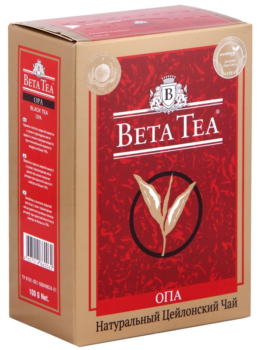 Beta Tea ОПА черный крупнолистовой чай, 100 г beta tea де люкс крупнолистовой чай 225 г подарочная упаковка