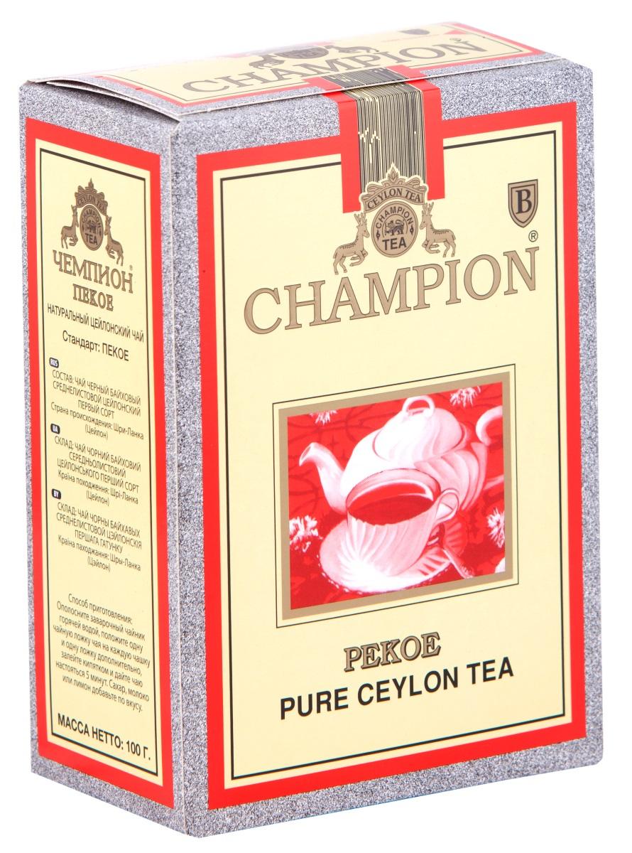 Чай черный байховый цейлонский листовой Чемпион Пекое 100г принцесса нури пекое черный чай листовой 250 г