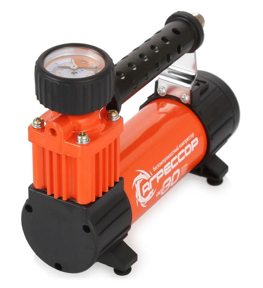 Компрессор автомобильный Агрессор AGR-30L со встроенным фонарем, металлический, производительность 30 л/мин, 12В, 140Вт