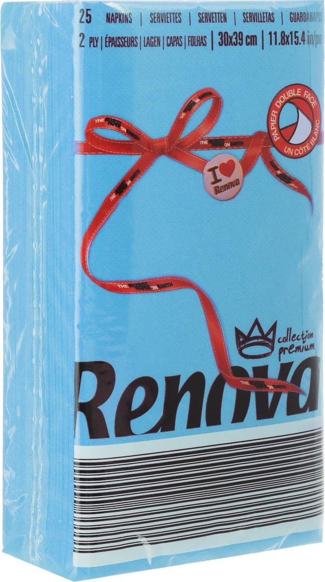 """Салфетки бумажные """"Renova"""", двуслойные, цвет: голубой, 25 шт"""