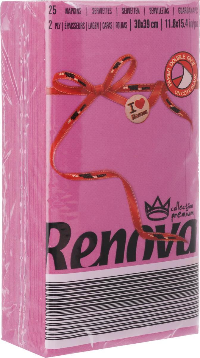 """Салфетки бумажные """"Renova"""", двуслойные, цвет: фуксия, 25 шт"""