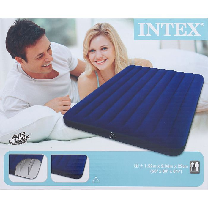 Матрас надувной Intex Classic Downy Queen 152х203х22 см, цвет: синий. 68759