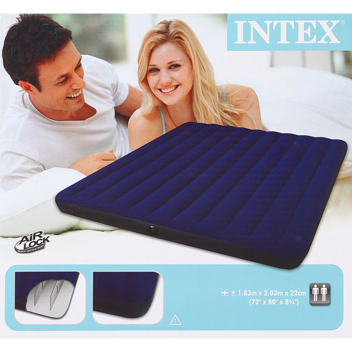 Матрас надувной Intex Classic Downy King, цвет: синий, 183 х 203 х 22 см. 68755