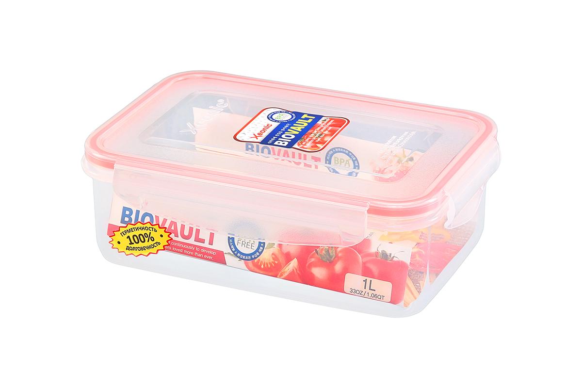 Контейнер пищевой Xeonic, прямоугольный, цвет: прозрачный, красный, 1 л. 810077