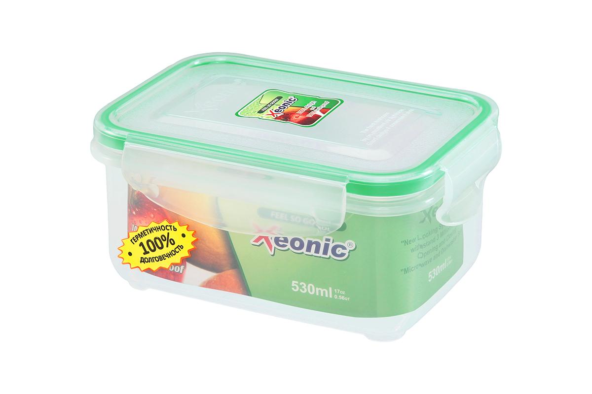 Контейнер пищевой Xeonic, прямоугольный, цвет: прозрачный, зеленый, 530 мл. 810091 available from 10 11 container food rectangular xeonic 530 ml xeonic 810029