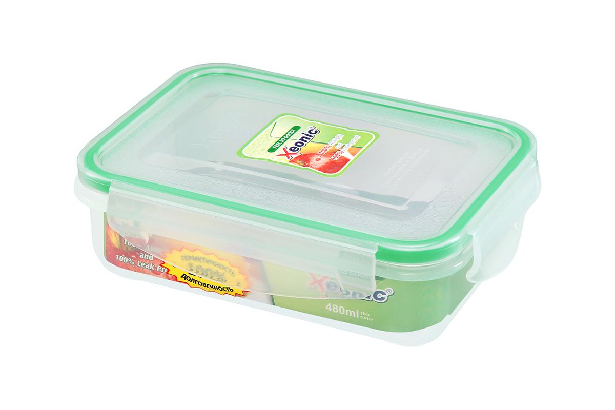 Контейнер пищевой Xeonic, прямоугольный, цвет: прозрачный, зеленый, 480 мл. 810099 контейнер герметичный 450 мл xeonic