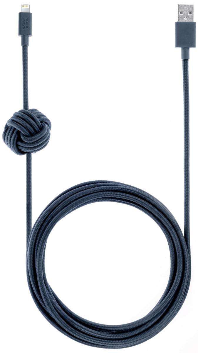 Native Union Night Cable, Blue кабель Apple Lightning с фиксатором (3 м) цена и фото