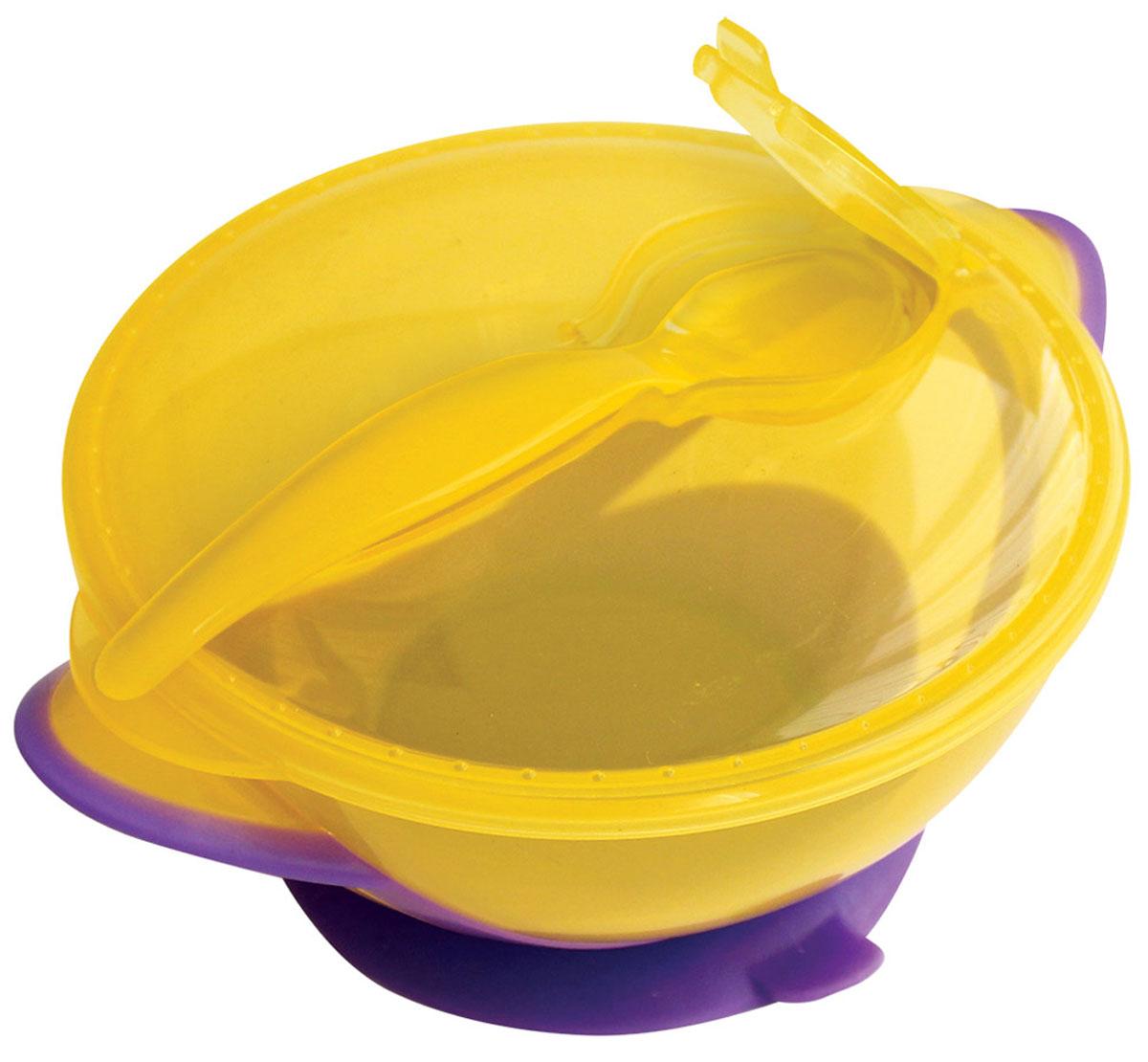 Lubby Тарелка детская Классика с ложкой цвет фиолетовый желтый для кормления и путешествий