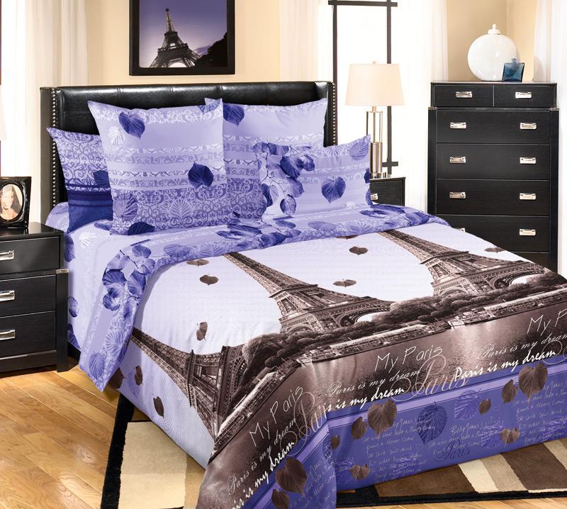 Комплект белья Текс-Дизайн Романтика Парижа 1, 2-спальный, наволочки 70х70, цвет: фиолетовый, сиреневый, темно-коричневый романтика постельное белье 1 5 перкаль цветы шафрана романтика