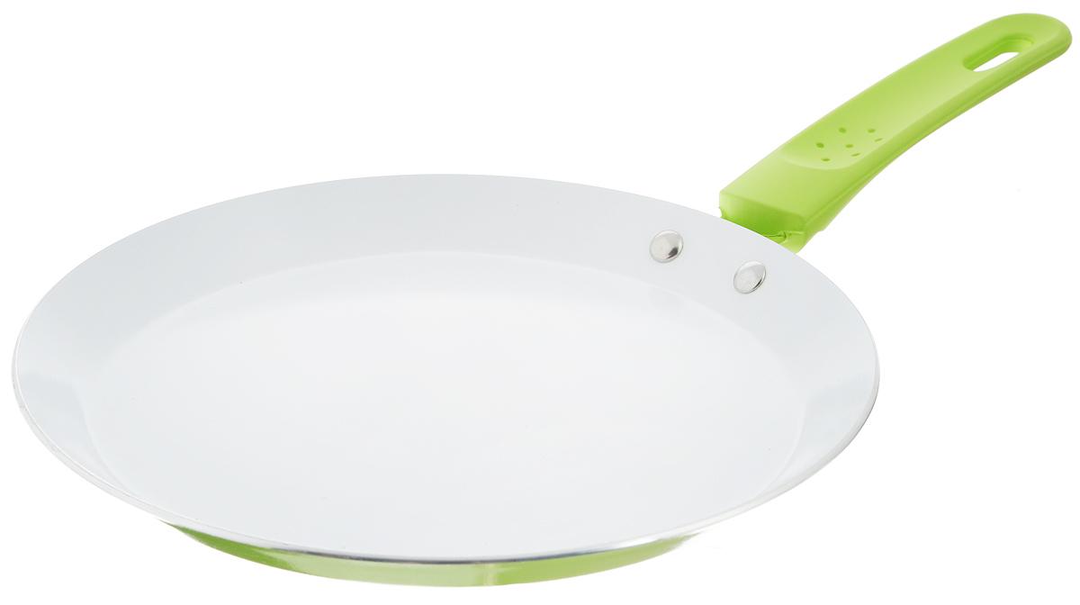 Сковорода блинная Добрыня, с керамическим покрытием, цвет: салатовый. Диаметр 22 см сковорода блинная добрыня с керамическим покрытием цвет зеленый диаметр 24 см do 5015