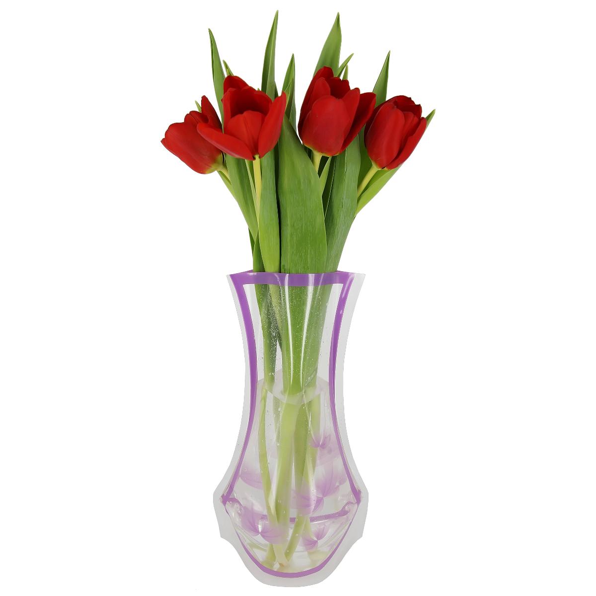 Ваза МастерПроф Фиолетовые лепестки, пластичная, 1,2 л ваза мастерпроф летний узор пластичная 1 л