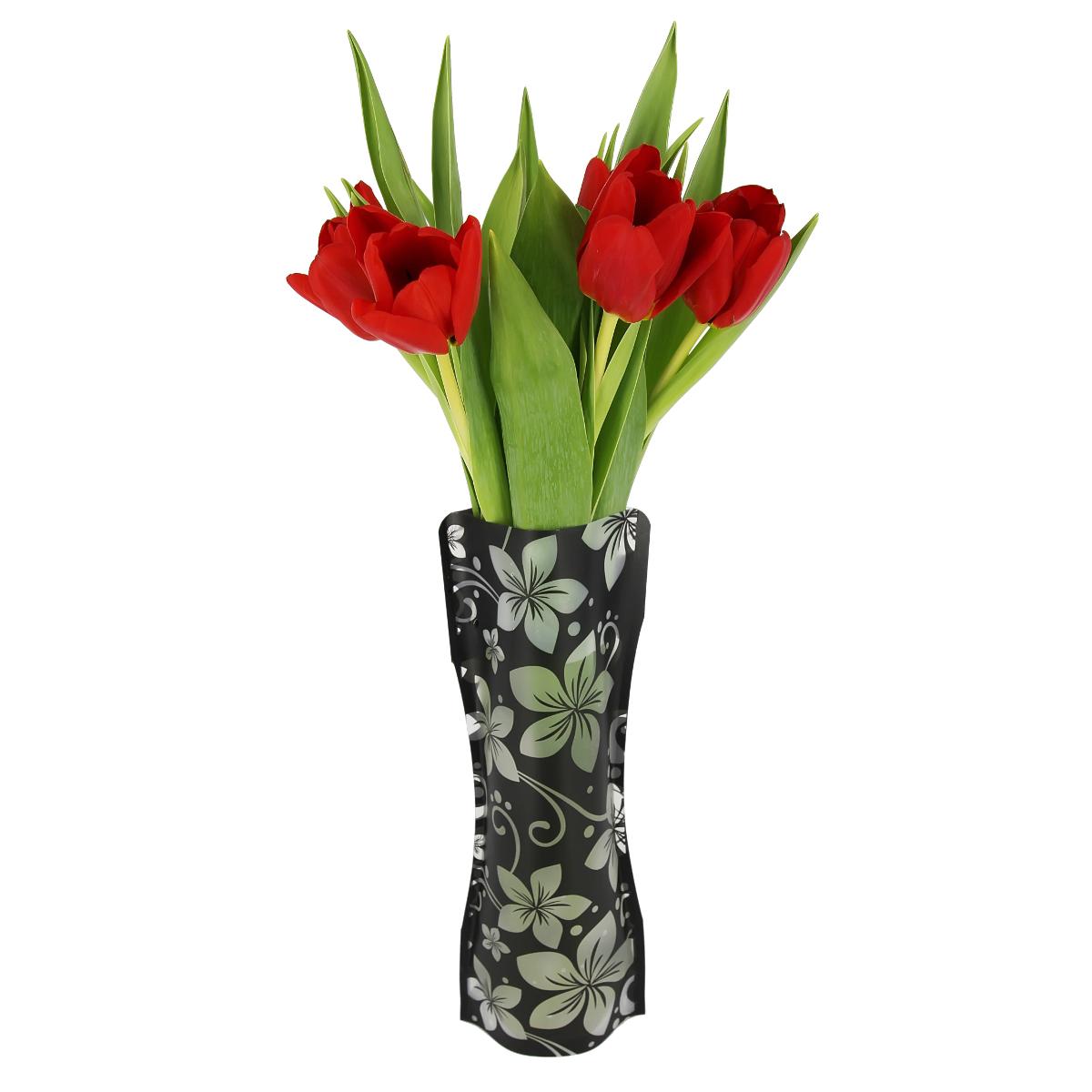Ваза МастерПроф Черная орхидея, пластичная, 1 л ваза мастерпроф летний узор пластичная 1 л