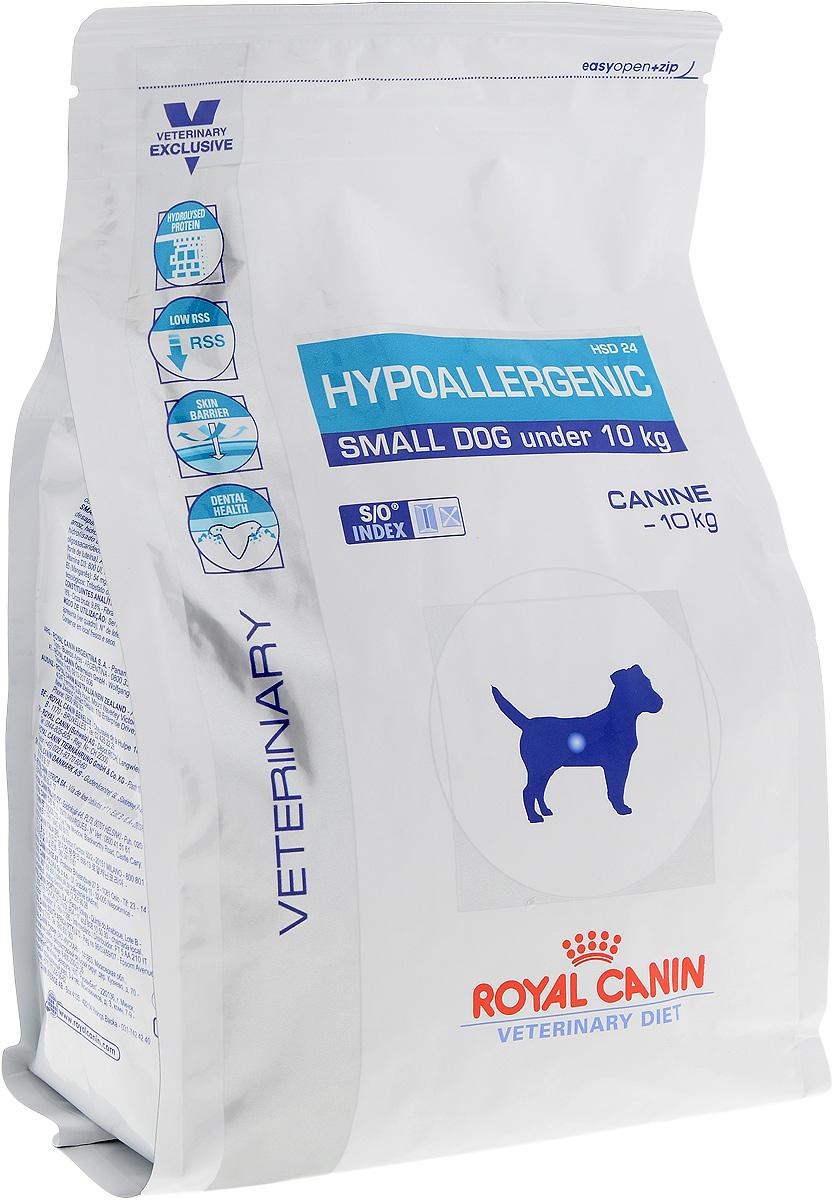 Корм сухой диетический Royal Canin Hypoallergenic HSD 24 для собак весом от 1 до 10 кг, при пищевой аллергии или непереносимости, 1 кг корм сухой royal canin vet sensitivity control sc21 для собак при пищевой аллергии или непереносимости с уткой 1 5 кг
