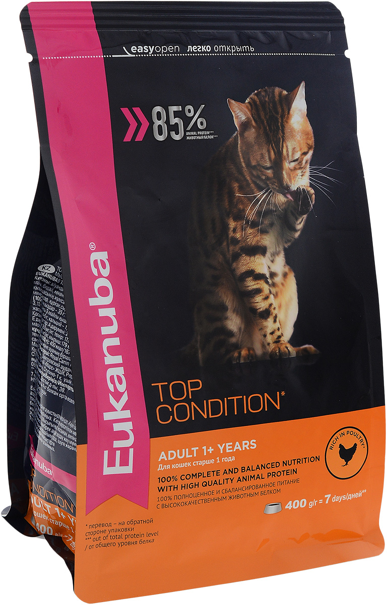 Корм сухой Eukanuba Top Condition для взрослых кошек, с домашней птицей, 400 г демирчоглян г г компьютер и здоровье
