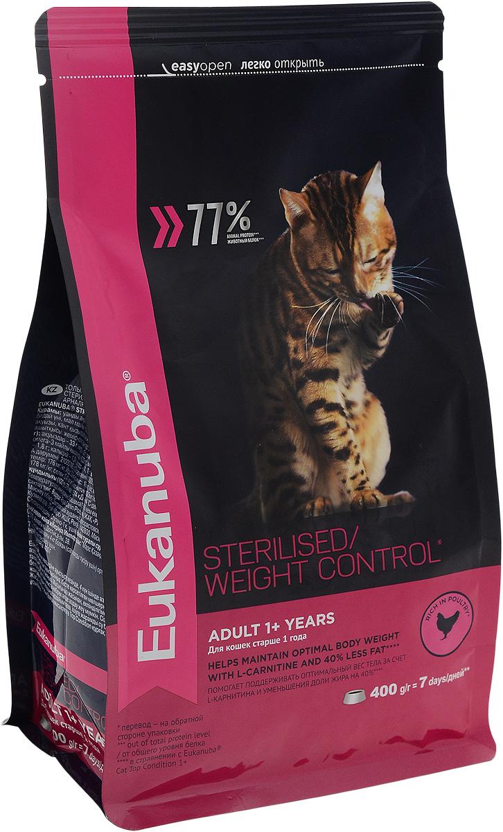 """Корм сухой """"Eukanuba"""" для взрослых стерилизованных кошек и кошек с избыточным весом, с курицей, 400 г"""