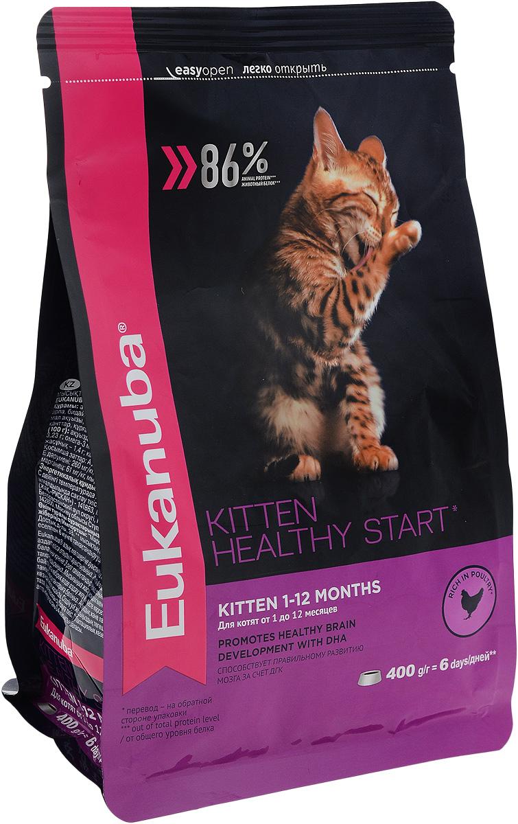 Корм сухой для котят Eukanuba Kitten Healthy Start, с домашней птицей, 400 г