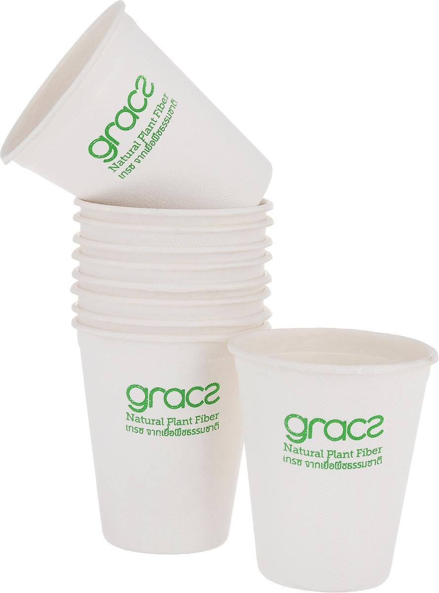 "Набор стаканов ""Gracs"", биоразлагаемых, цвет: белый, 120 мл, 10 шт"
