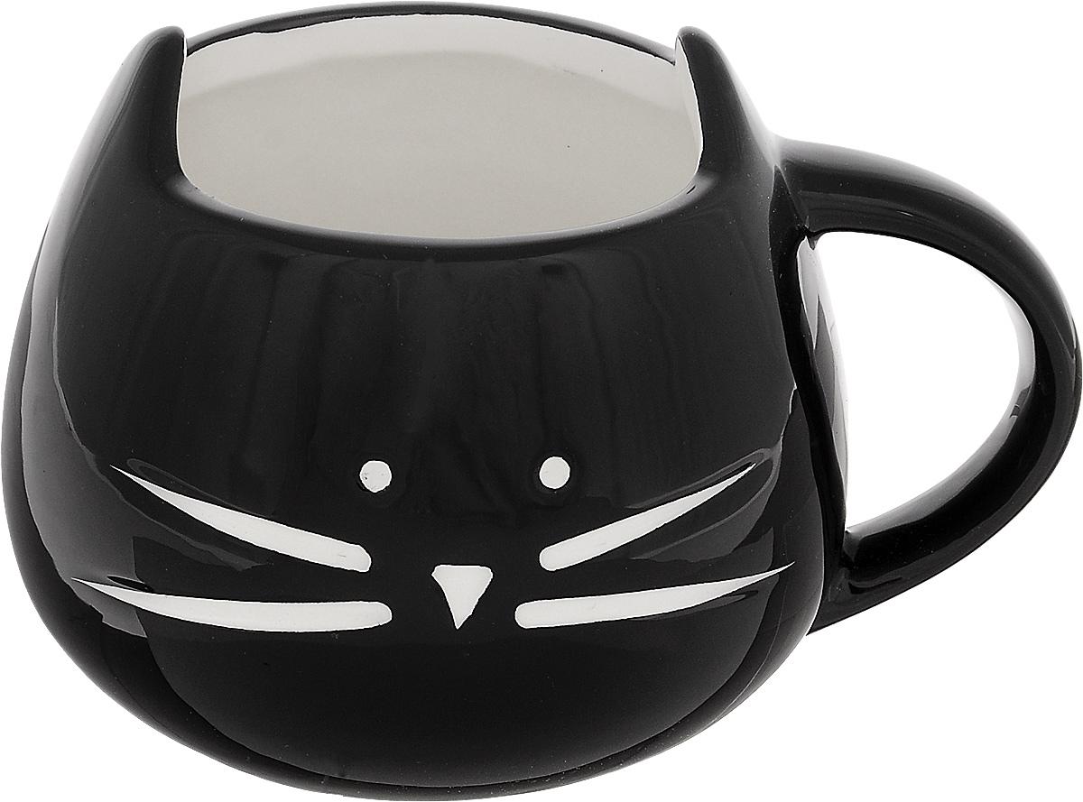 Кружка Эврика Котик, цвет: черный, 400 мл кружка эврика котик n3 с блюдцем 98704