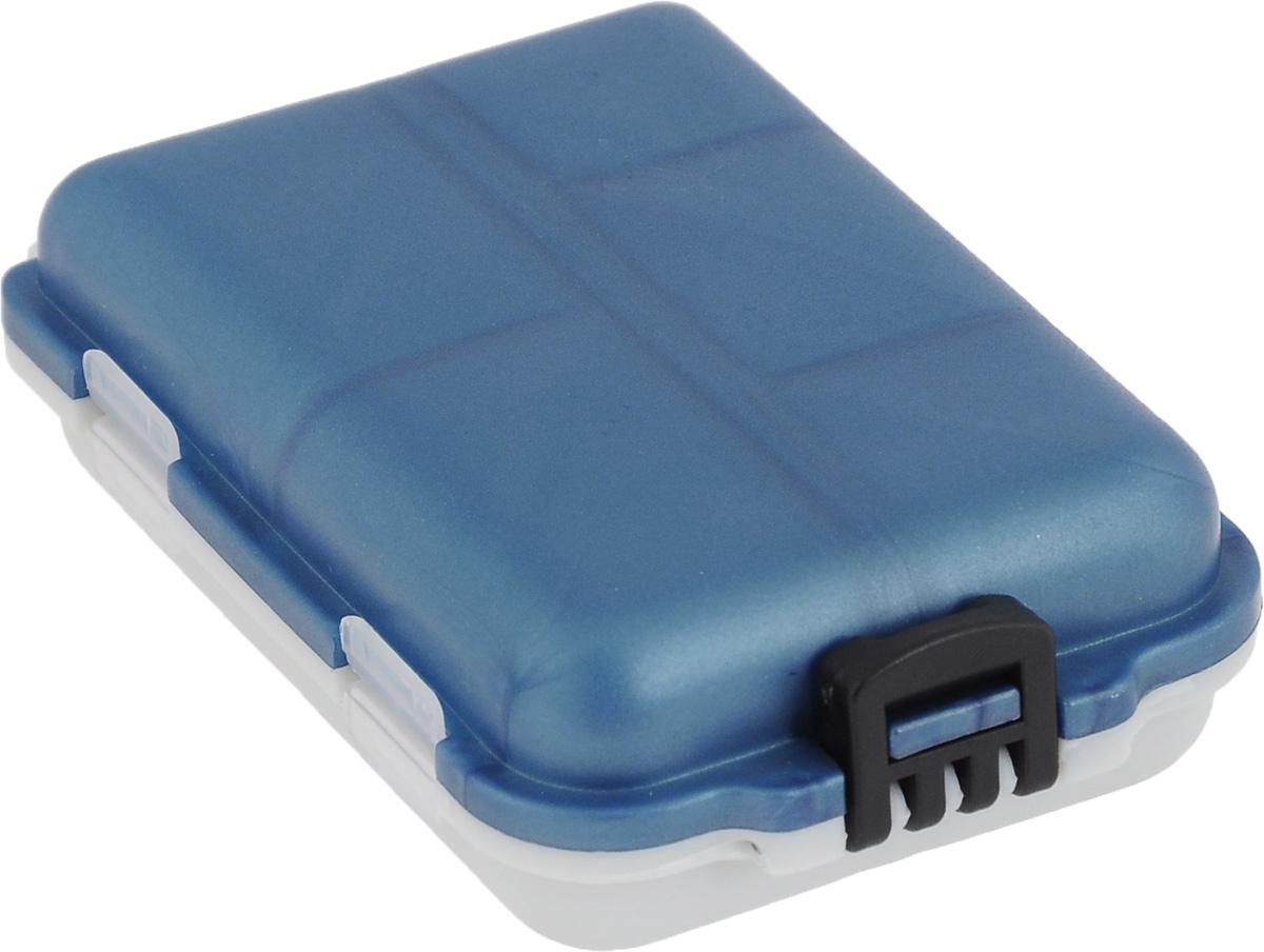Органайзер для мелочей, двухсторонний, цвет: синий, светло-серый, 9,5 х 6 х 2,5 см коробка для приманок три кита сч 5
