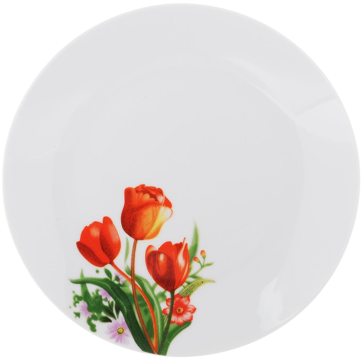 "Тарелка десертная ""Тюльпаны"", диаметр 20 см"