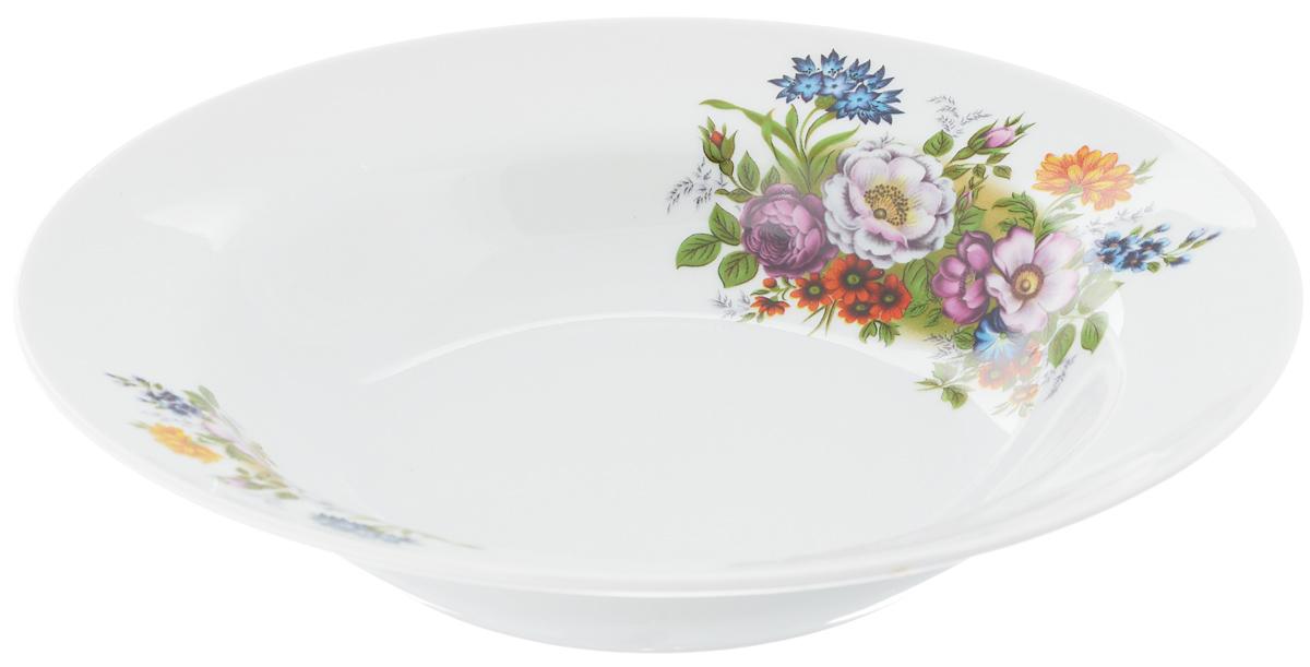 Тарелка глубокая Идиллия. Букет цветов, диаметр 24 см тарелка мелкая идиллия ромашка диаметр 20 см 5с0189