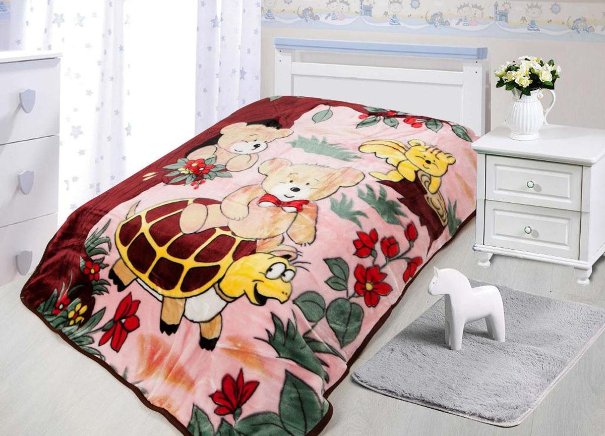 Плед ТД Текстиль Tamerlan, нестриженый, цвет: розовый, бордовый, 110 х 140 см. 78134 плед tamerlan плед payton 150х200 см