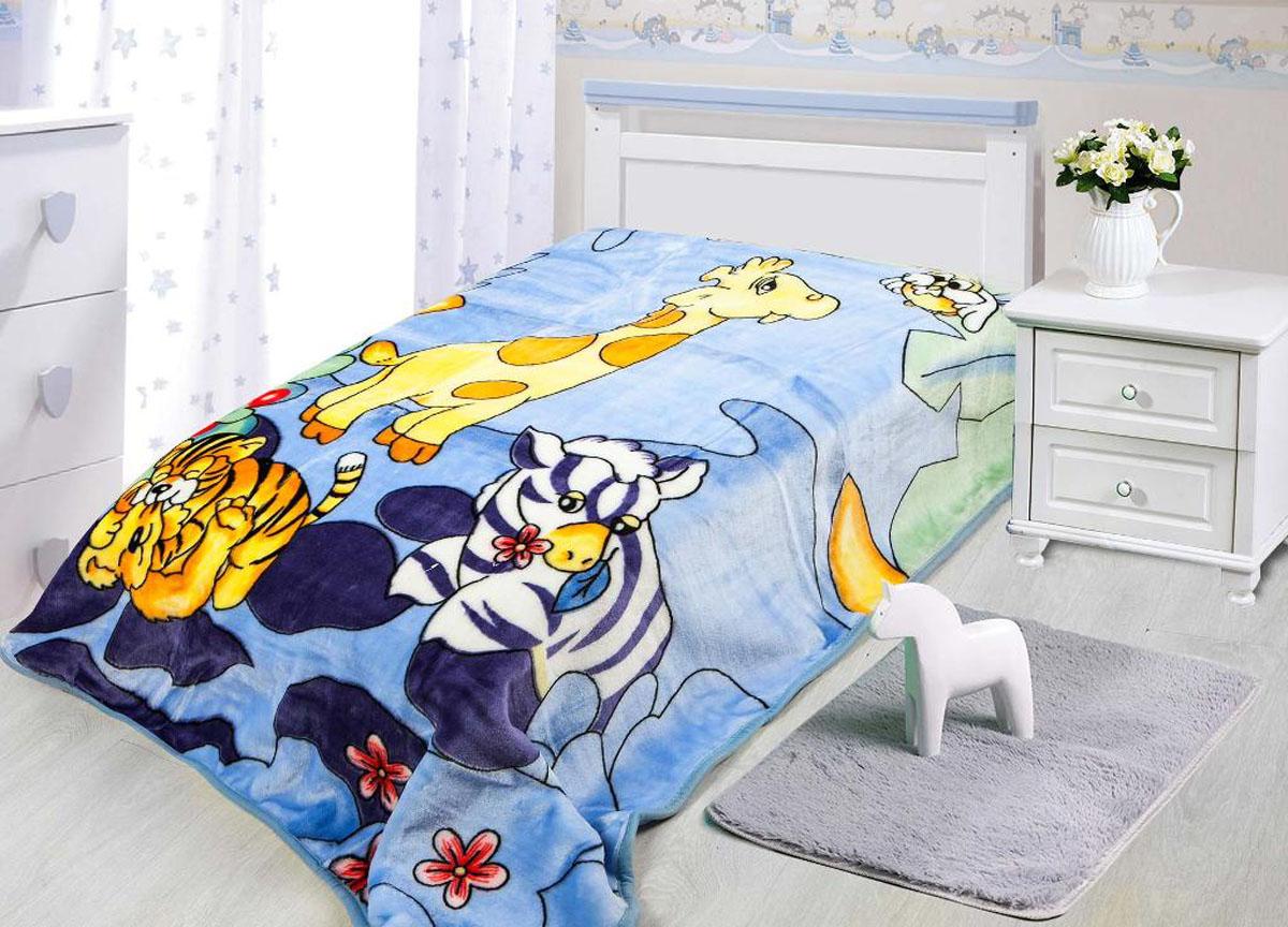 Плед ТД Текстиль Tamerlan, нестриженый, цвет: голубой, 110 х 140 см. 78139 плед tamerlan плед payton 150х200 см